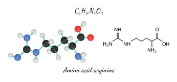 C6H14N4O2 amino acid Arginine molecule Royalty Free Stock Photography