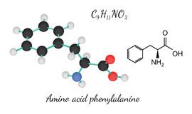 C9H11NO2 amino acid Phenylalanine molecule Stock Photography