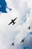 C-130 Hercules and C-295 M in flight Stock Photo