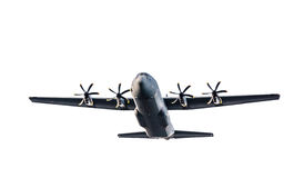 C-130 Hercules. Military C-130 Hercules cargo plane, isolated on a white background stock photo