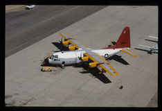 The C-130 Hercules Transport Plane. The C-130 Hercules from Lockheed-Martin Aeronautics Company primarily performs the tactical portion of the airlift mission Stock Images