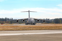 C-17. JBLM, WA, USA - August 28, 2016: Boeing's C-17 Globemaster III can carry large equipment, supplies and troops directly to small airfields in harsh terrain royalty free stock photography