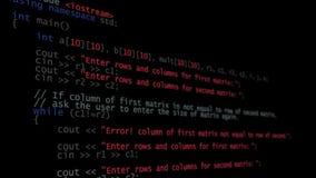 Код C++ программируя бежать вниз с терминала экрана компьютера акции видеоматериалы