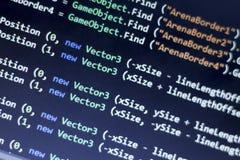 C-kors C för programvaruutveckling, FÖRTJÄNA nära övre för kod Makroskott av den modiga bärareskärmen Arkivbilder