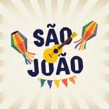 C?l?bration traditionnelle br?silienne Festa Junina Texte br?silien portugais indiquant Saint John Festa de Sao Joao festive illustration de vecteur