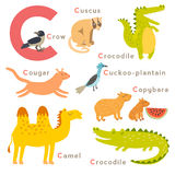 C letter animals set. English alphabet. Vector illustration. On white background Royalty Free Stock Images