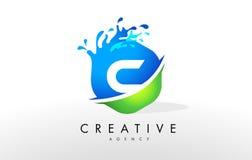 C Letter Logo. Blue Green Splash Design Vector Royalty Free Stock Images