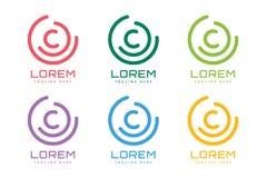 C letter  logo icon symbol. C letter . C logo icon template. C  symbol silhouette. C isolated icon, C line style letter, C logotype, C logo icons, C modern Stock Images