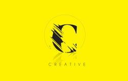 C Letter Logo with Vintage Grundge Drawing Design. Destroyed Cut Stock Photo