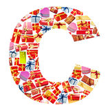 C Letter   made of giftboxes Stock Photography