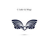 C-letter sign and angel wings.Monogram wing vector logo template Stock Images