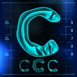 C Letter Vector. Capital Digit. Roentgen X-ray Font Light Sign. Medical Radiology Neon Scan Effect. Alphabet. 3D Blue. Light Digit With Bone. Medical Stock Image