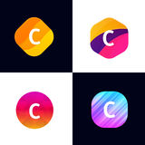 C letter vector company icon signs flat symbols logo set Royalty Free Stock Images