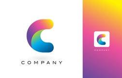 C Logo Letter With Rainbow Vibrant Mooie Kleuren Kleurrijk RT Stock Afbeeldingen
