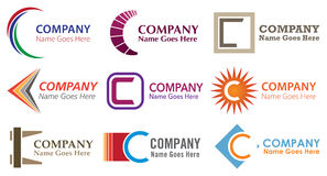 C Logo Set stock illustration