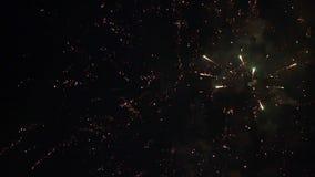 C?mara lenta del cielo nocturno colorido de los fuegos artificiales almacen de video