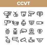 C?maras de vigilancia, sistema linear del vector de los iconos del CCTV ilustración del vector