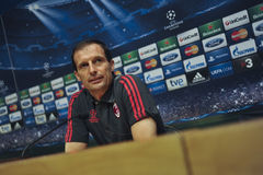 A.C. Milan coach Massimiliano Allegri at press conference in Barcelona Stock Photos