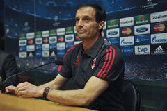 A.C. Milan coach Massimiliano Allegri at press conference in Barcelona Stock Photo