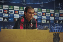 A.C. Milan coach Massimiliano Allegri at press conference in Barcelona Stock Image