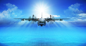 C123 military plane landing Royalty Free Stock Photos