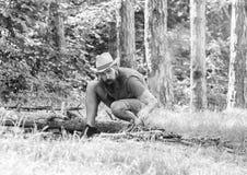 C?mo construir la hoguera al aire libre Arregle las ramitas de maderas o los palillos de madera que se colocan como una pir?mide  fotografía de archivo libre de regalías