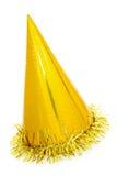 Cône d'or de chapeau de partie Photo libre de droits
