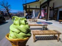 Cône de crême glacée de thé vert Image libre de droits
