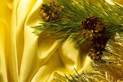 Cône de pin avec la branche sur le tissu d'or, décoration de Noël Image stock