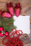 Cône en verre de whith de carte de voeux de Noël Photographie stock