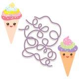 Cône mignon drôle de gaufre de crème glacée d'ensemble sur le fond blanc jeu de labyrinthe pour les enfants préscolaires Vecteur Photos libres de droits