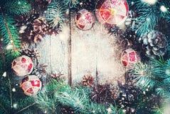Cônes de pin d'arbre de sapin de Branche de boules de Noël en bois Photo stock