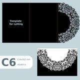 C6 o cartão a céu aberto de papel, convite do casamento, convite do laço, cartão com dobra alinha, fundo isolado objeto, cu do la Fotografia de Stock