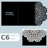 C6 o cartão a céu aberto de papel, convite do casamento, molde para cortar, convite do laço, cartão com dobra alinha, objeto Imagem de Stock