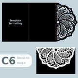 C6 o cartão a céu aberto de papel, convite do casamento, molde para cortar, convite do laço, cartão com dobra alinha, objeto isol Foto de Stock