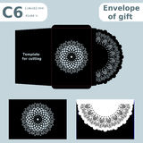 C6 openwork paper converter for romantic messages,template  for cutting, lace pattern, envelope greetings, laser cutting template, Stock Photography