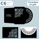 C6 openwork paper converter for romantic messages,template  for cutting, lace pattern, envelope greetings, laser cutting template,. Presents packing Stock Photography