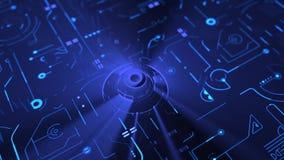 Материнская плата цифров и C.P.U. голубая доска 3D акции видеоматериалы