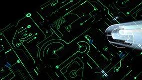 Материнская плата цифров и C.P.U. доска зеленого цвета 3D иллюстрация штока