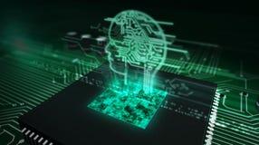 C.P.U. на борту с hologram головы ai иллюстрация вектора