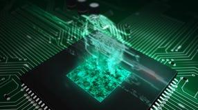 C.P.U. на борту с hologram головы ai бесплатная иллюстрация