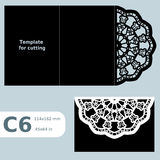 C6 paper openwork greeting card, template for cutting, lace invitation, card with fold lines, object  background, laser cu Royalty Free Stock Photography