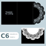 C6 paper openwork greeting card, template for cutting, lace invitation,  card with fold lines,  object  background, Stock Photography