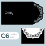 C6 paper openwork greeting card, template for cutting, lace invitation,  card with fold lines,  object isolated background Stock Photography