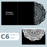 C6 paper openwork greeting card, template for cutting, lace invitation,  card with fold lines,  object isolated background Stock Images