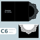 C6 paper openwork greeting card, template for cutting, lace invitation, card with fold lines, object isolated background. Vector illustration vector illustration
