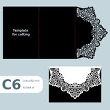 C6 paper openwork greeting card,  wedding invitation,  lace invitation, card with fold lines, object isolated background, laser cu Stock Photo