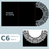 C6 paper openwork greeting card,  wedding invitation,  lace invitation, card with fold lines, object isolated background, laser cu. T template, vector Stock Photography