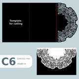 C6 paper openwork greeting card,  wedding invitation,  lace invitation, card with fold lines, object isolated background, laser cu Royalty Free Stock Image