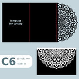 C6 paper openwork greeting card,  wedding invitation, template for cutting, lace invitation, card with fold lines, object  Royalty Free Stock Photo